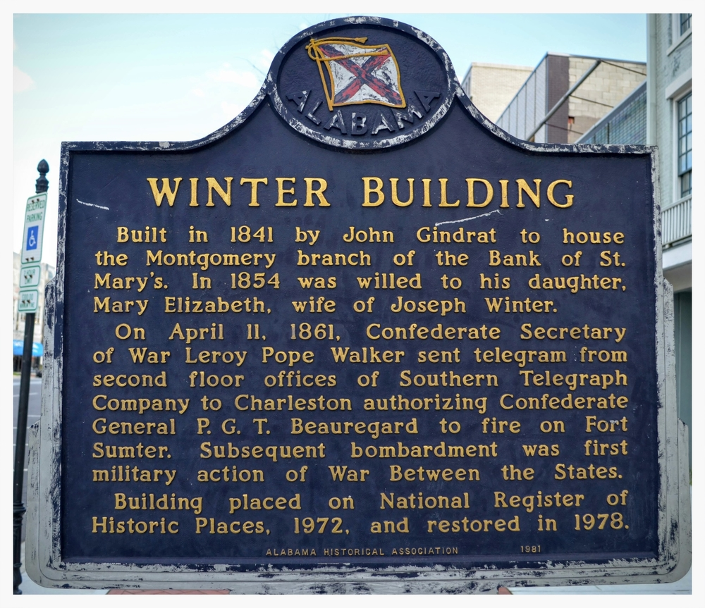 Winter Building historical marker, Montgomery, Montgomery County, Alabama