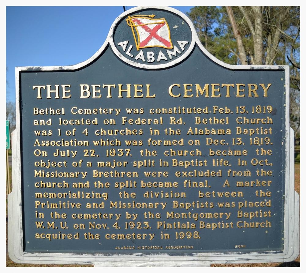 Bethel Cemetery historical marker, Pintlala, Montgomery County, Alabama