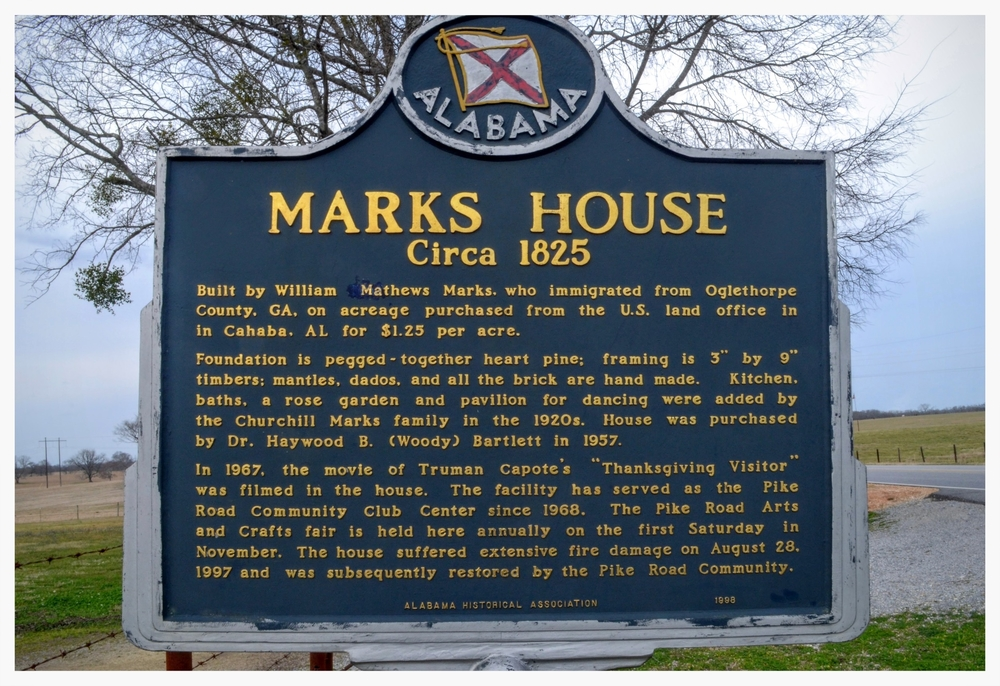 The Marks House historical marker, Pike Road, Montgomery County, Alabama