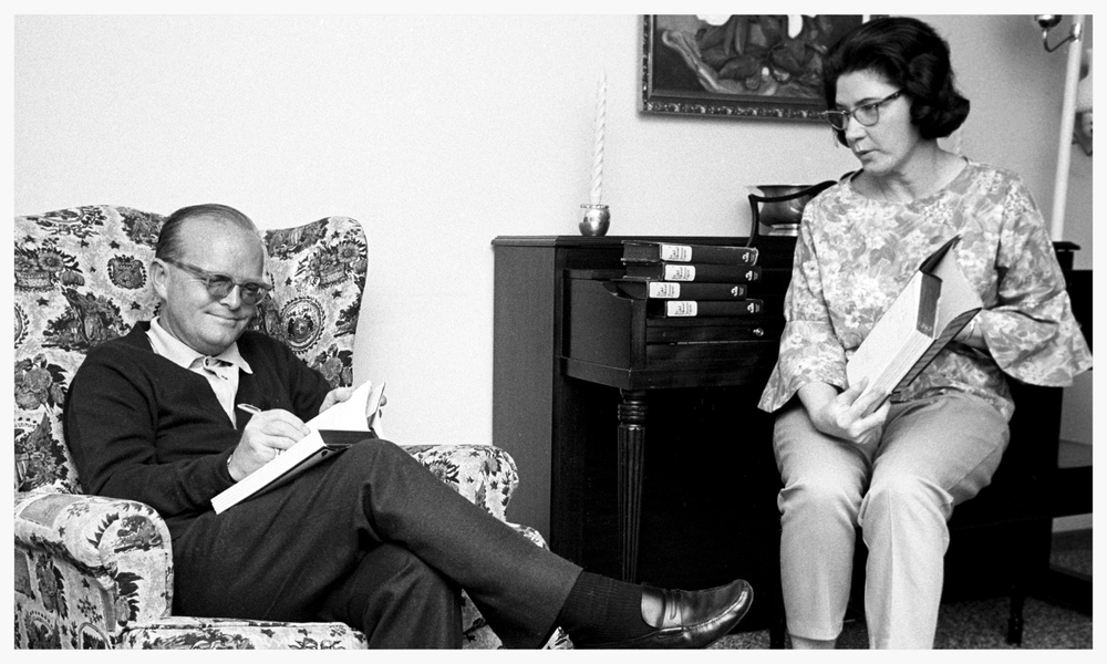 Truman Capote and Harper Lee signing copies of In Cold Blood - 1966 (photo courtesy of Steve Shapiro/Corbis)