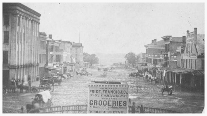 Court Square looking north in 1867, Montgomery, Montgomery County, Alabama (photo courtesy of Alabama Department of Archives & History)