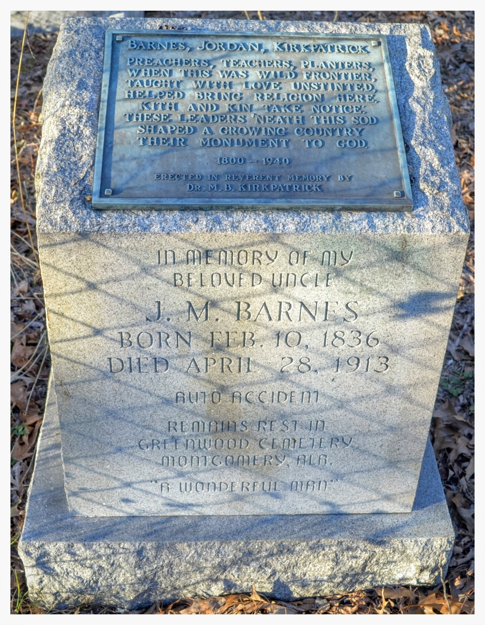Memorial to the founders of Strata Academy, Fair Prospect Cemetery, Montgomery County, Alabama