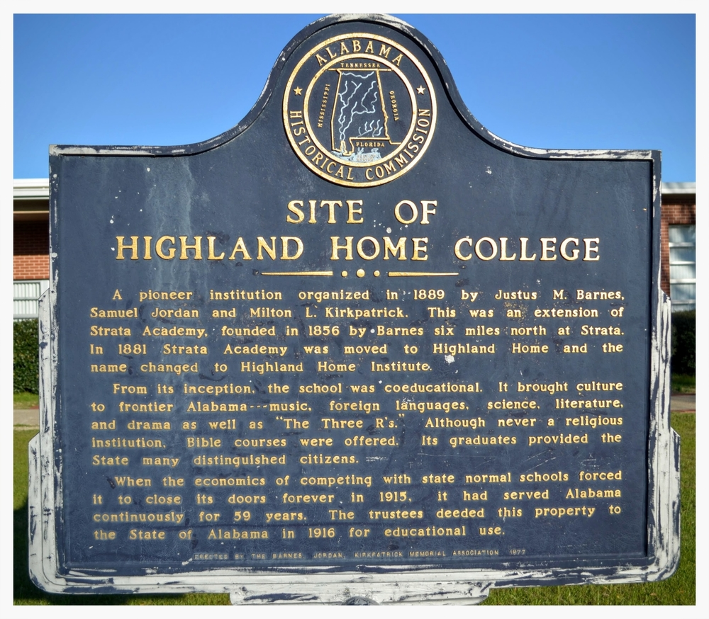 Highland Home College historical marker, Highland Home, Crenshaw County, Alabama