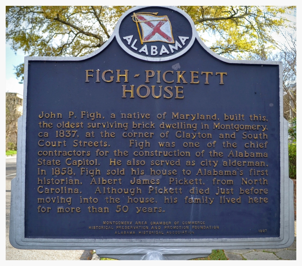 Figh-Pickett House historical marker, Montgomery, Montgomery County, Alabama