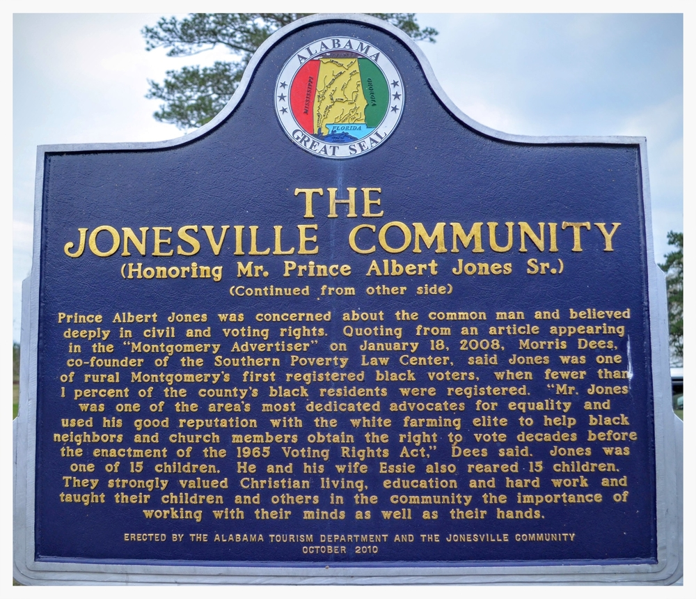 Jonesville Community historical marker, side two, Mathews, Montgomery County, Alabama