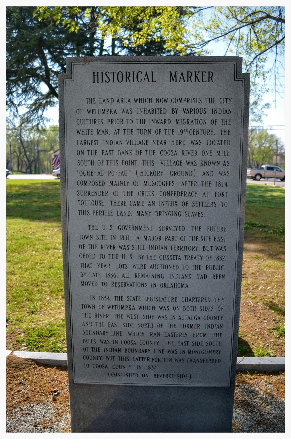 Wetumpka stone historical marker side 1, Wetumpka, Elmore County, Alabama