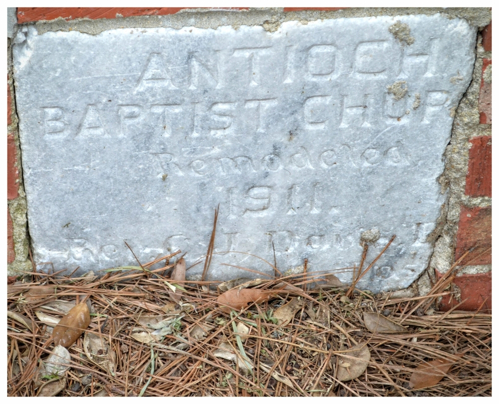 Granite marker in the side of the current Antioch Baptist Church building, Mount Meigs, Montgomery County, Alabama