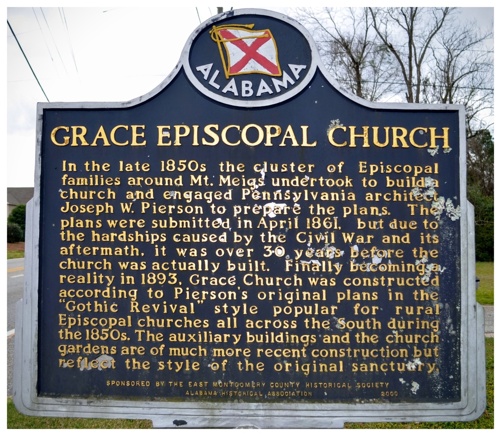 Grace Episcopal Church historical marker, Pike Road, Montgomery County, Alabama