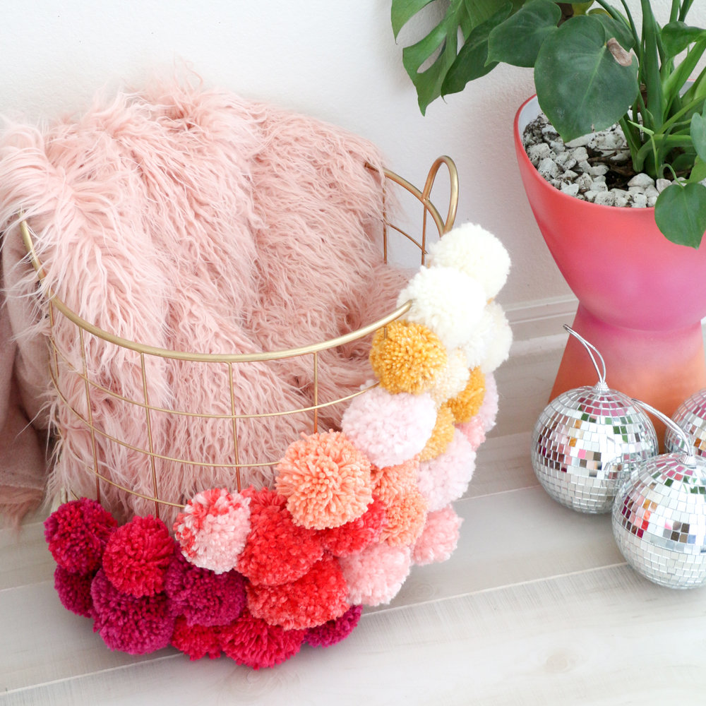 Photo credit Kara Whitten via http://abeautifulmess.com/2017/09/make-your-own-pom-pom-basket.html