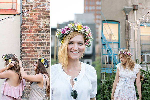 Previous class attendees show off their finished flower crowns.