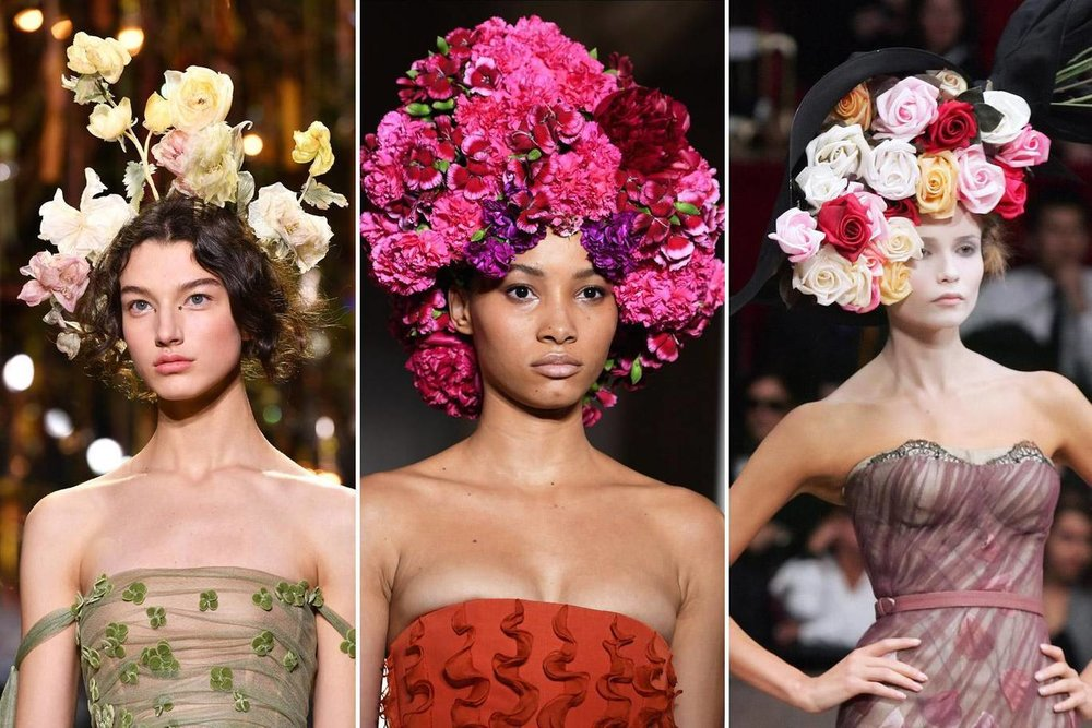Flower crowns made their way to the runway at Dior, Valentino and Galliano.