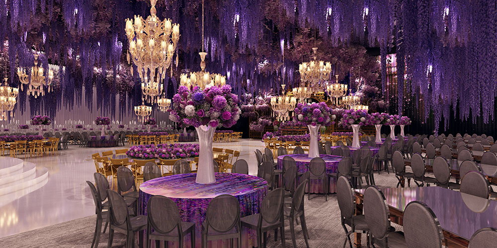 Wisteria Garden Wedding Design Rendering by Eddie Zaratsian