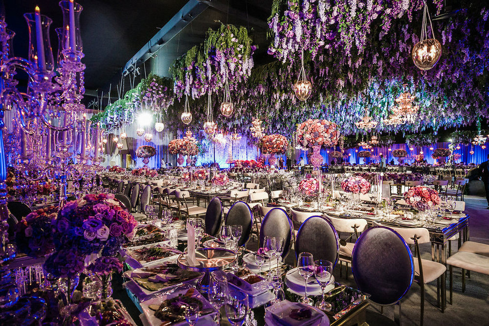 Purple wisteria inspired wedding reception designed by Eddie Zaratsian Lifestyle and Design, Photo by Jessica Claire