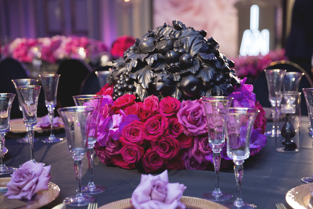 Dramatic pink, purple and black floral centerpiece designed by Eddie Zaratsian Lifestyle and Design, Photo by Melody Melikian