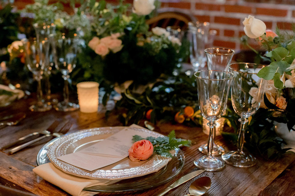 Rustic table setting on long farm tables designed by Eddie Zaratsian for the Allison Webb Spring 2019 Bridal Collection, Photo by Jessica Grazia Mangia Photography