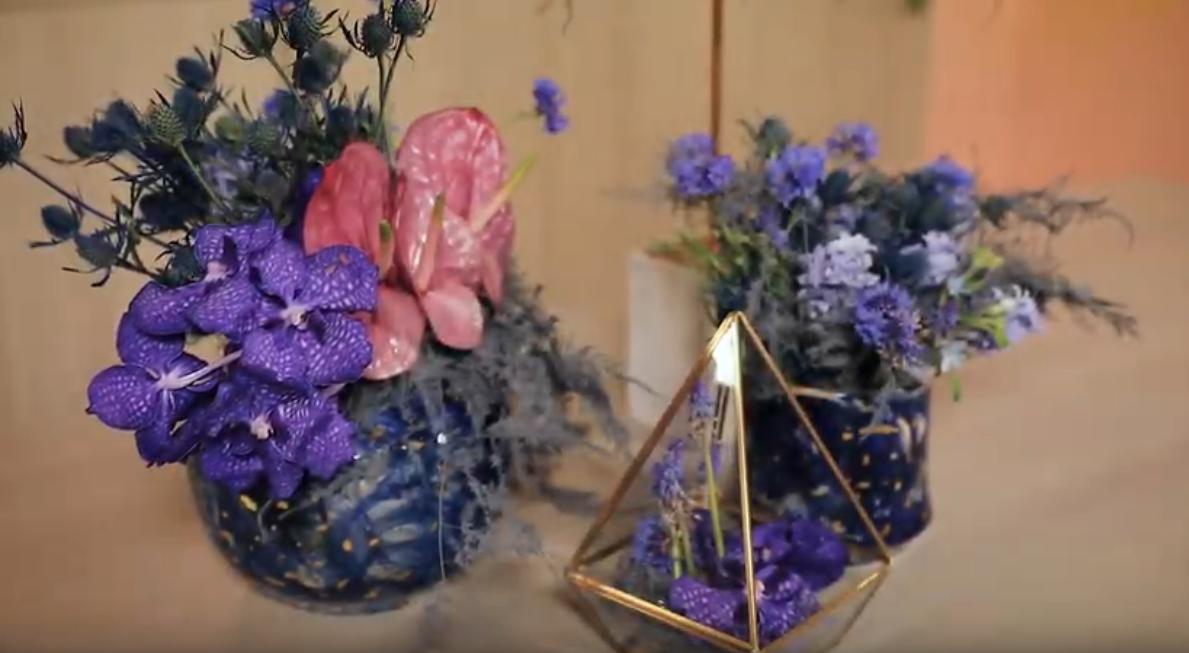 Purple Blue Cosmic Flower Arrangement Inspiration Eddie Zaratsian Lifestyle Design