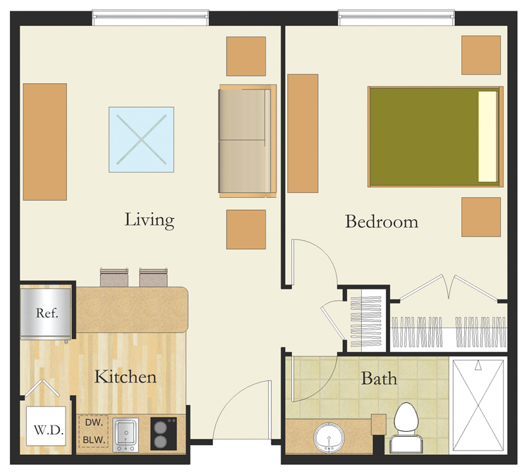 1 Bedroom Suite Senior Living