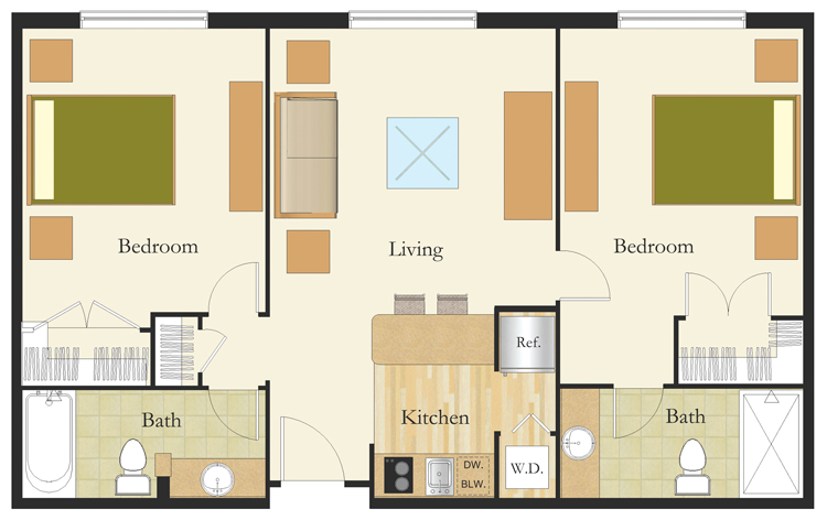 2 Bedroom Suite Senior Living