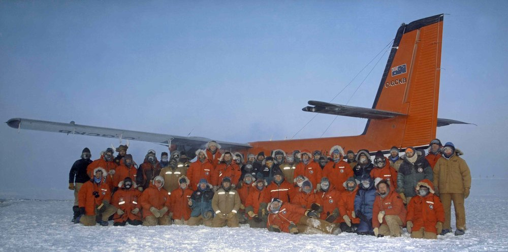South Pole Station Winter-Over Crew, 2003 (including Lacy Shelby). Credit: Joy Culbertson and Karina Leppick.