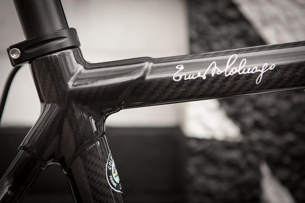 Colnago C60 framset detail in RSCG colours. Ernesto Colnago signature.