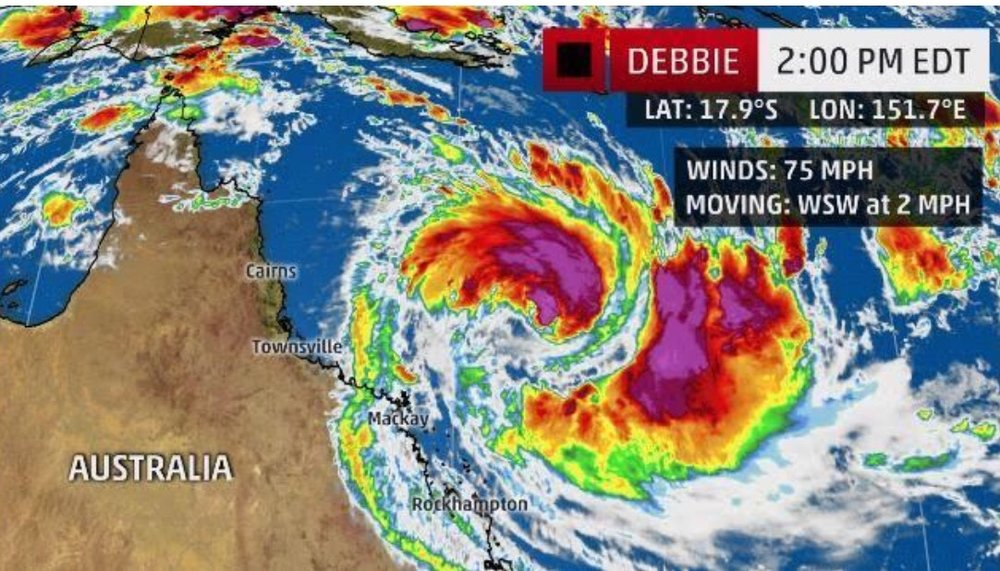 Cyclone Debbie. We were right off Townsville on Magnetic Island when we screenshotted this.