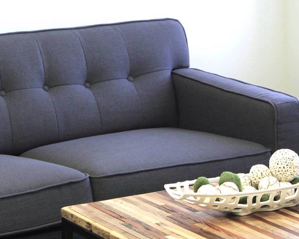 Nixon Mid-century modern sofa in Ink fabric available at Perch Furniture