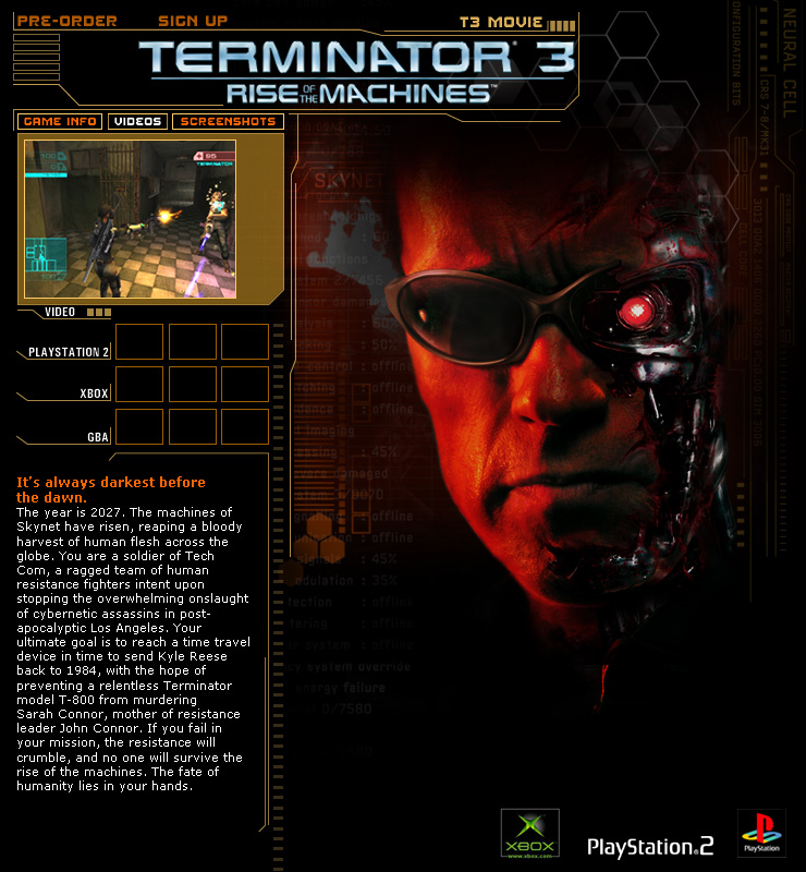 Terminator 3 Video Game (Atari)