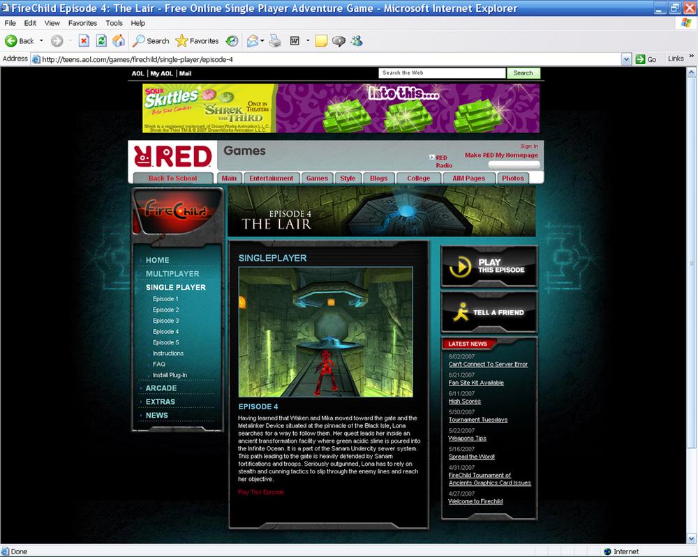 FireChild Portal Page (AOL Teens)