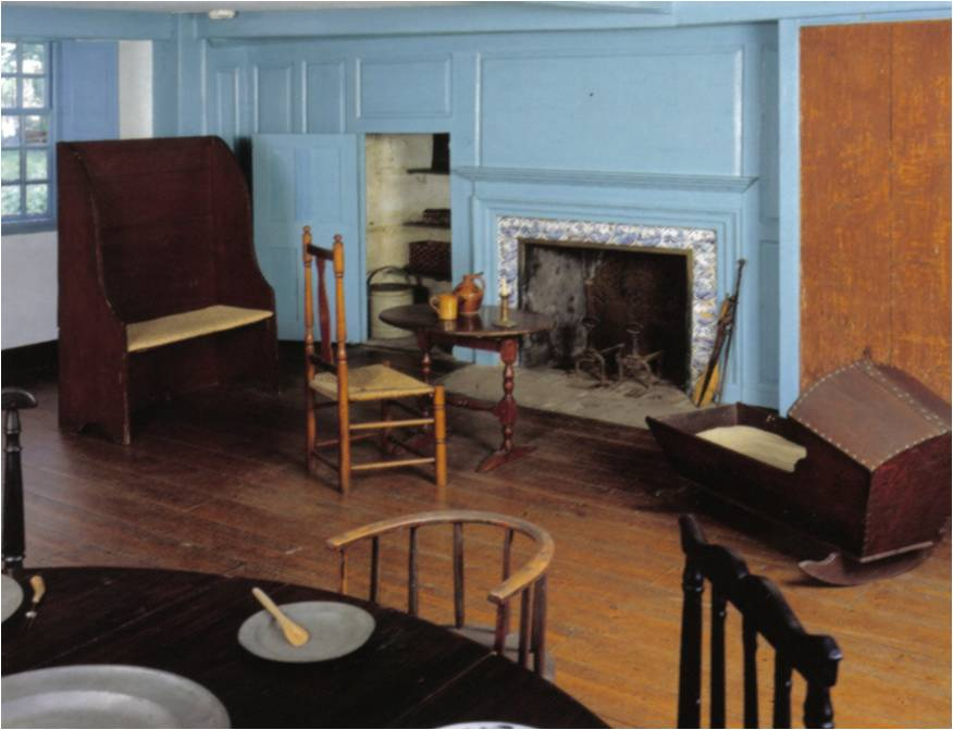 """Large fireplaces served as the center of family life, exemplifying the idea of """"home and hearth""""."""