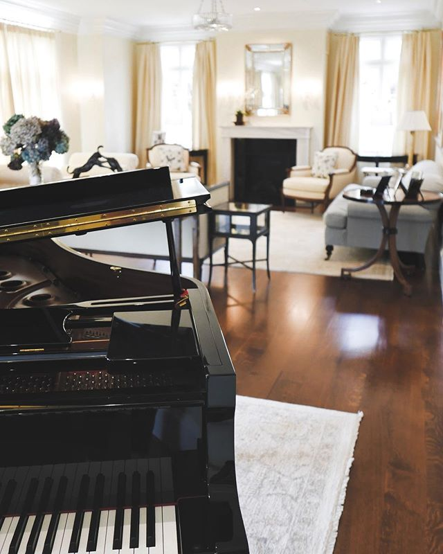 """The pianokeys are black and white, but they sound like a million colors in your mind."" - Maria Cristina Mena -- The living room of a recently completed project on Ocean Drive."