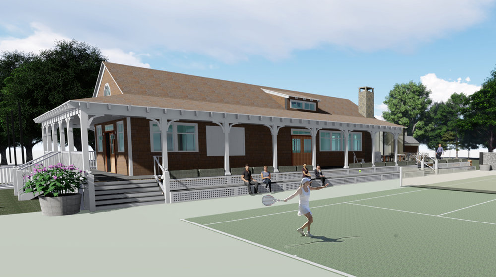 Proposed Rendering of a New Tennis Hut Facility for Conanicut Yacht Club in Jamestown, RI
