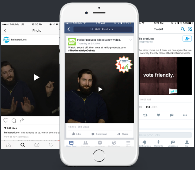 Debate Videos   + Videos will posted on Hello's social channels & also as promoted content.  + A call to action will invite viewers to visit Hello's homepage and voice their opinion.