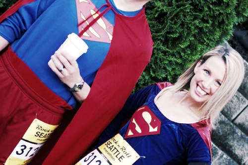 Running a marathon in superhero costumes to raise money for Superman's adoption in 2013