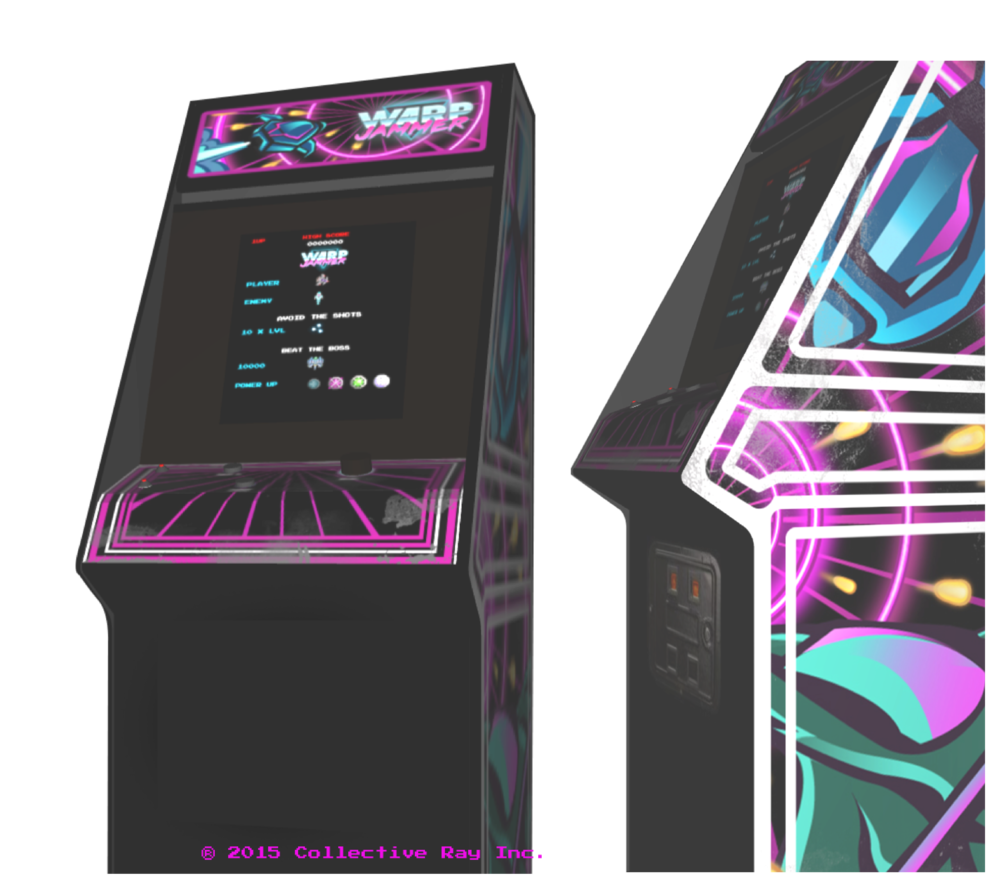 - These illustrations where textured on to an interactive, 3D model of an arcade that comes featured in the host app.