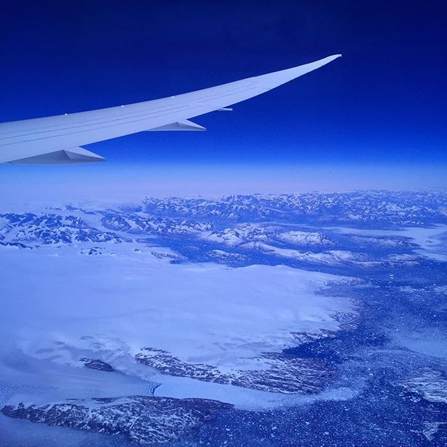 Heading home from the trip: a genuine no-filter photo over Greenland.