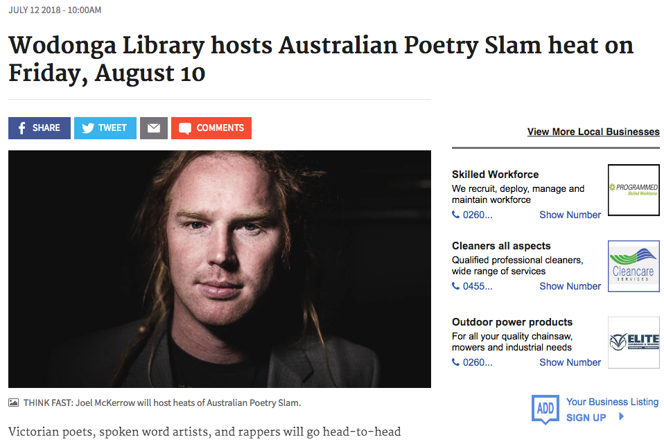Australian Poetry Slam Wodonga Heat The Border Mail