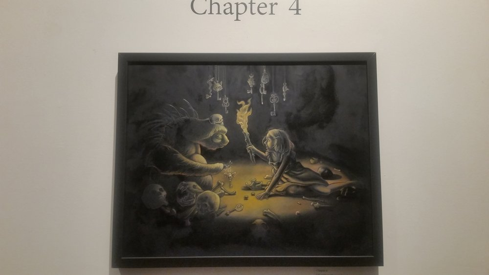 "One of the chapters in artist Tara Krebs's 'A Perilous Journey'. An interactive storybook that follows a young girl as she navigates through a magical realm. Viewers use their imagination to ""write"" her story."