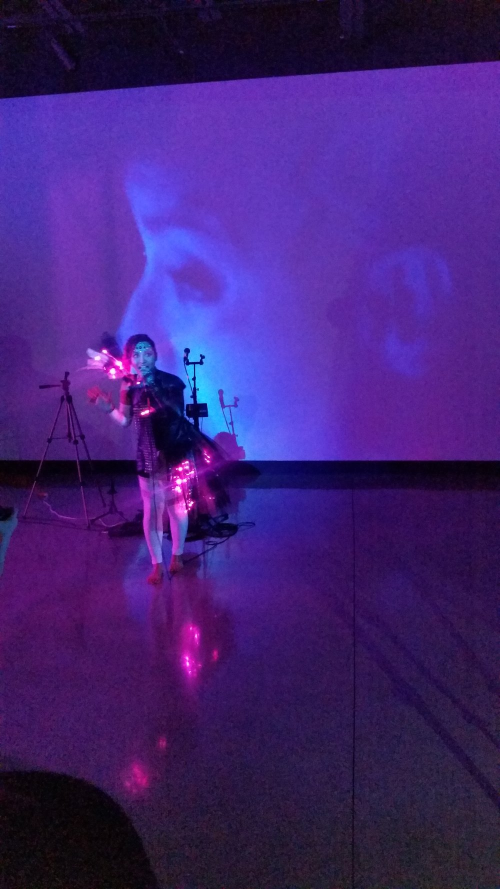Charlena Russell's debut performance of her sound activated light suit. This was an amazing performance that included gorgeous visuals on screen.