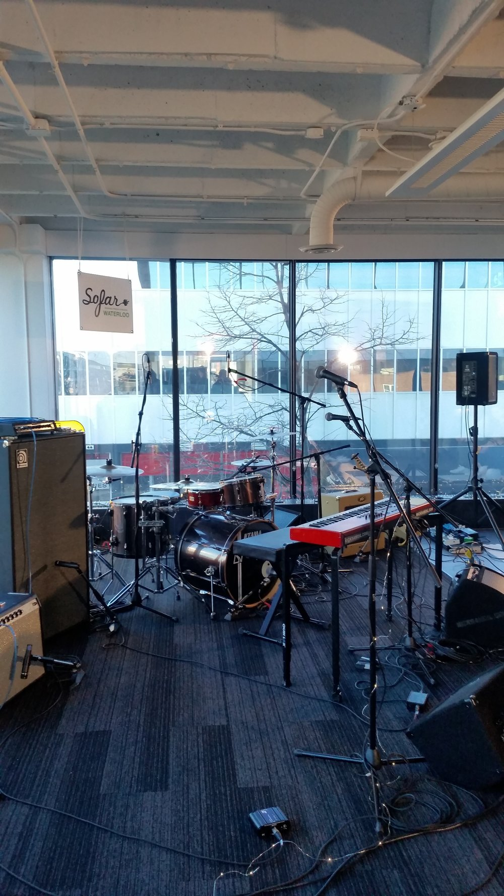 Stage setup. Sofar Waterloo at Smile.io. March 25th, 2018