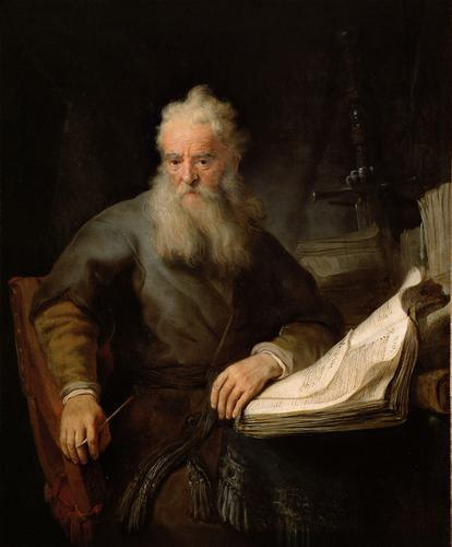St.Paul at his Desk, Rembrandt, oil on canvas, 1633