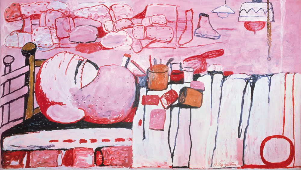 "Philip Guston. Painter in Bed 1973 Oil on canvas 152.4 x 264.2 cm 60 x 104"" (Saatchi Gallery)"