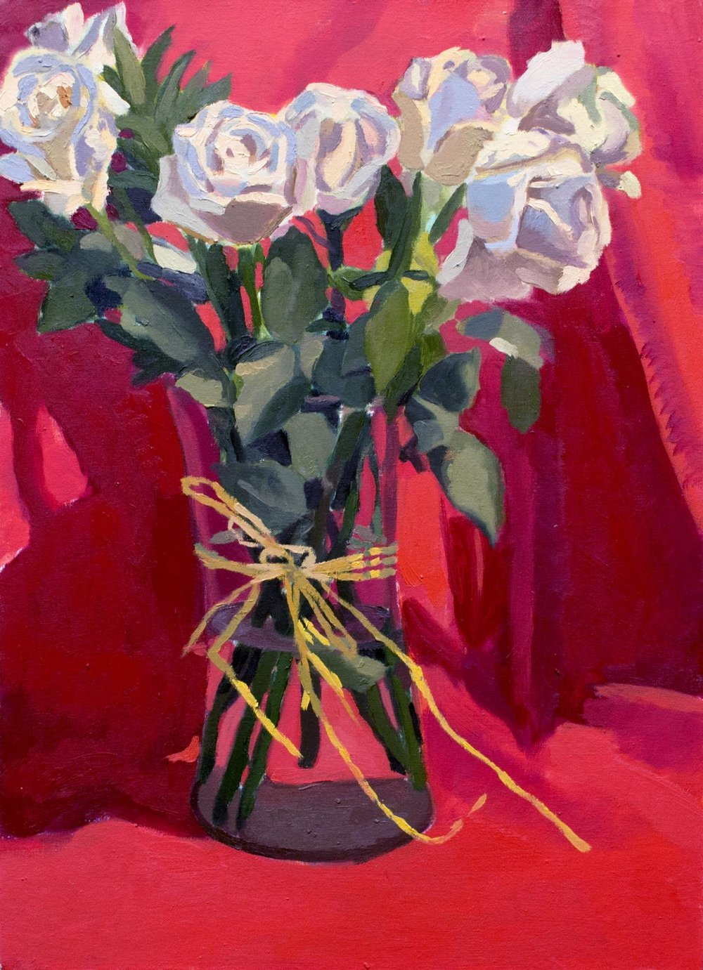Still Life with Nine Roses   Oil on Canvas  2016