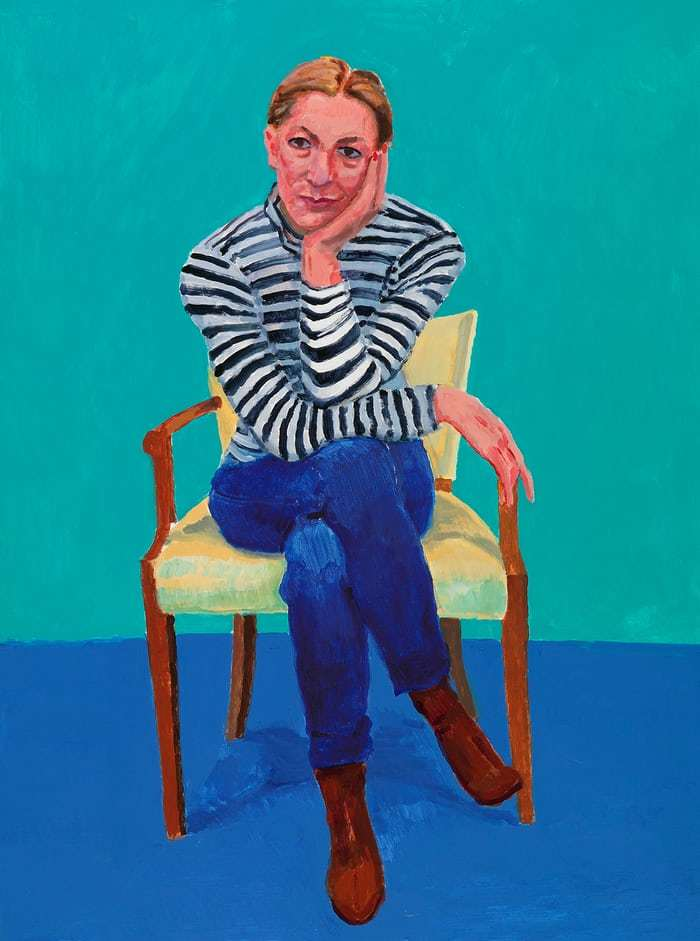 David Hockney,  Edith Devaney , acrylic on canvas, 2016