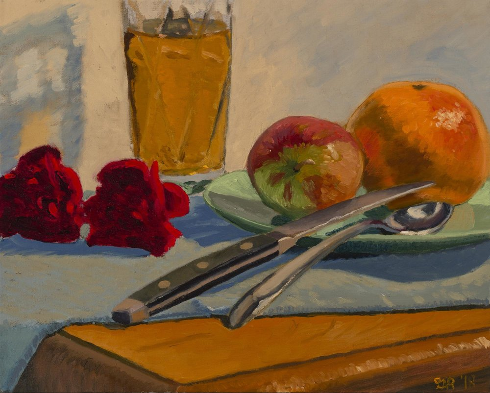 Still Life with Cutlery, Fruit and Beer   Oil on Linen