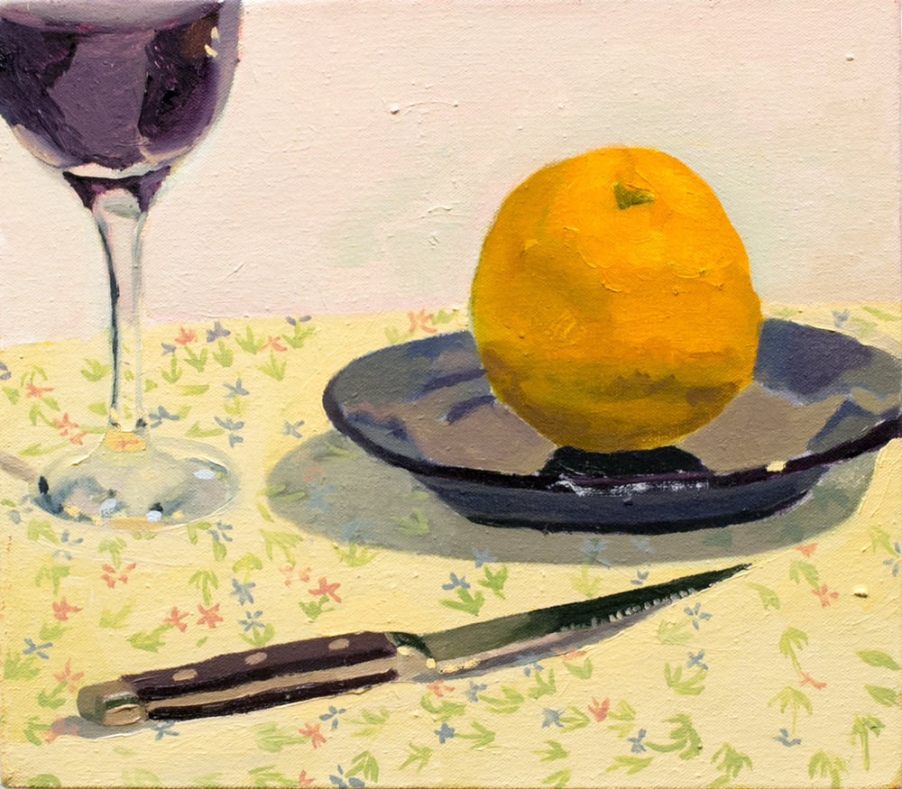 Still Life with Knife, Orange and Wine   Oil on Canvas  2016
