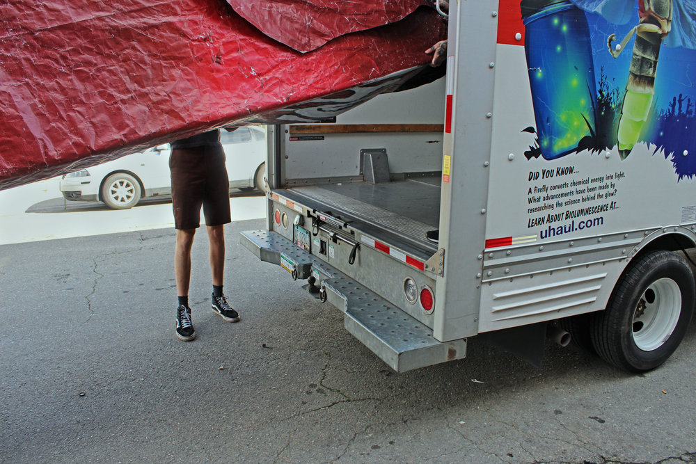 In a Robin Hood-like gesture, the group was selective about which billboards they cut down, intentionally targeting big businesses like Chase Bank and Budweiser. On Valentine's Day they loaded the tents into a U-Haul and drove them to the Northgate residents who were told to expect the delivery.