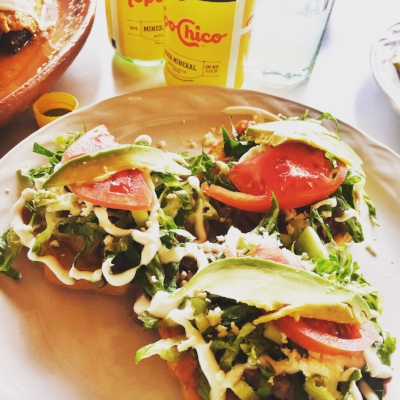 Sopes and Topo Chico.