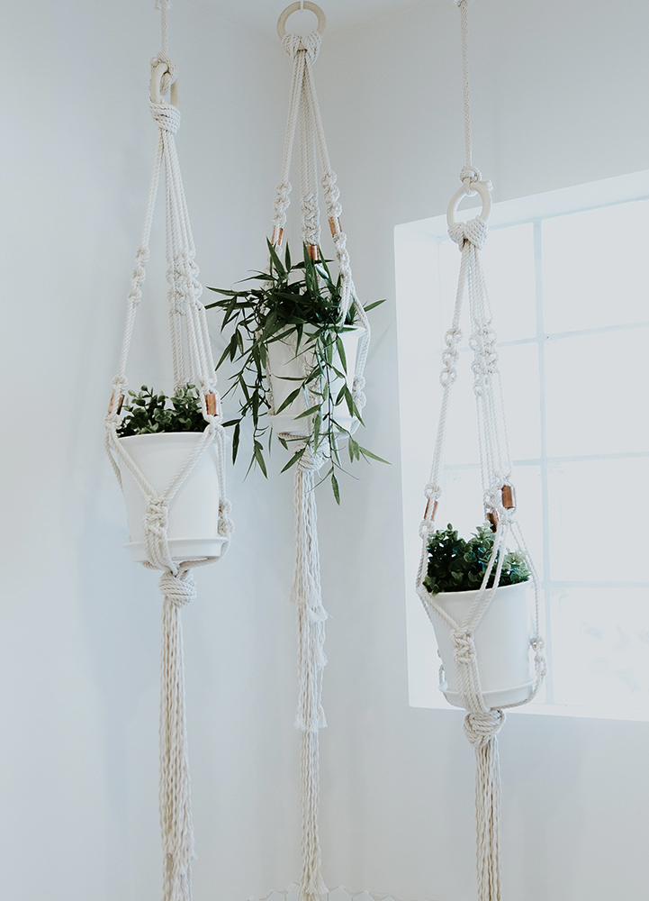 - White Modern Macrame Plant Hangers with Copper Beads$32
