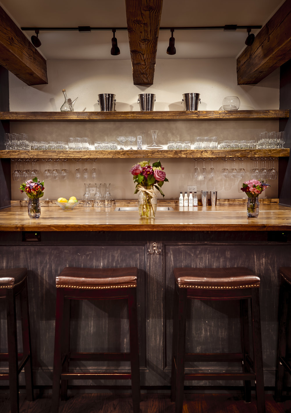 Tasting Room - With a 20 foot bar, glassware for every occasion, cocktail supplies for aspiring mixologists, complimentary non-alcoholics and garnishes, you are enjoying your drink quicker than at any other venue.
