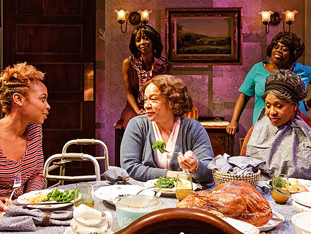 "As Tonya in ""While I Yet Live"" alongside S. Epatha Merkerson, Sharon Washington, Lillias White, and Elain Graham. Photo Credit: James Leynse"